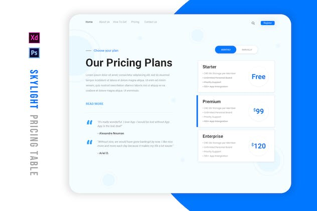 Skylight | Pricing Table