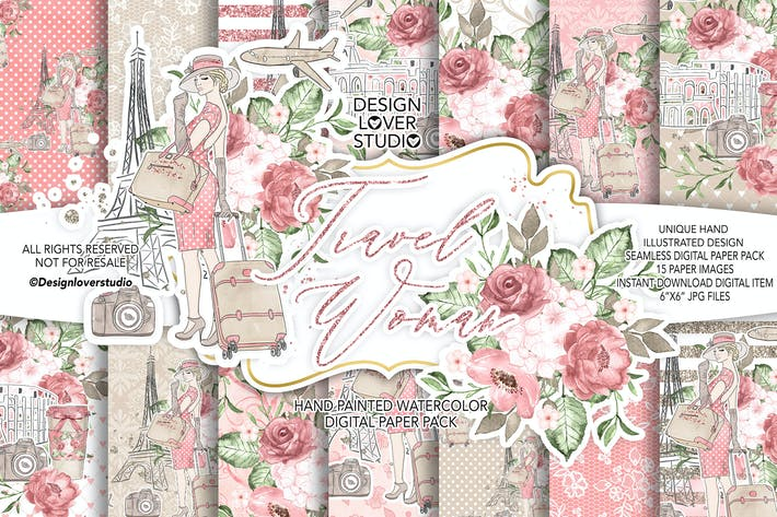Thumbnail for Travel woman digital paper pack