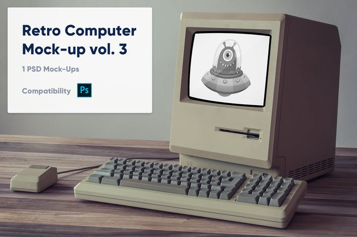 Thumbnail for 1 Retro Computer Mockup vol. 3