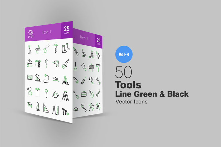 Thumbnail for 50 Tools Line Green & Black Icons