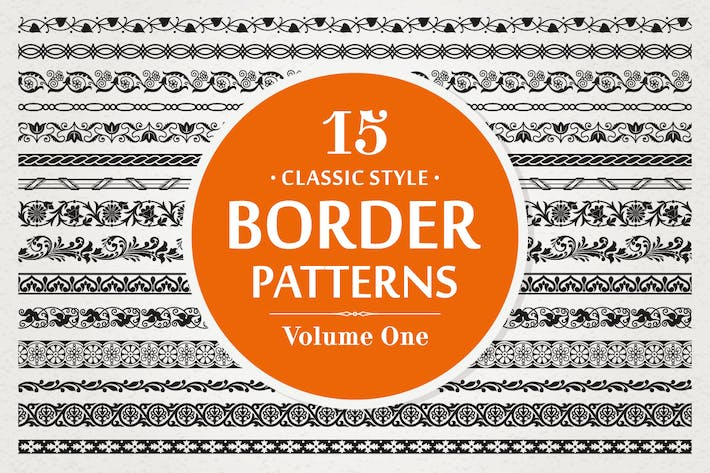 Thumbnail for 15 Vector Border Patterns Classic Style Volume 1