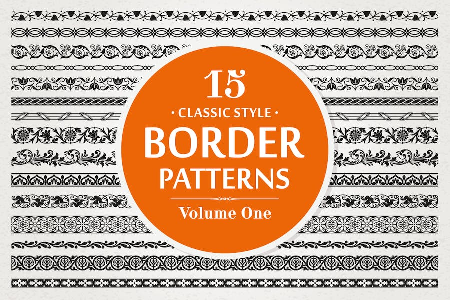 15 Vector Border Patterns Classic Style Volume 1