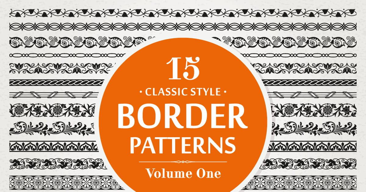 Download 15 Vector Border Patterns Classic Style Volume 1 by digiselector