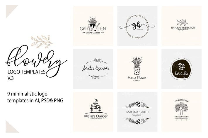 Cover Image For Floral Logo Templates V.3