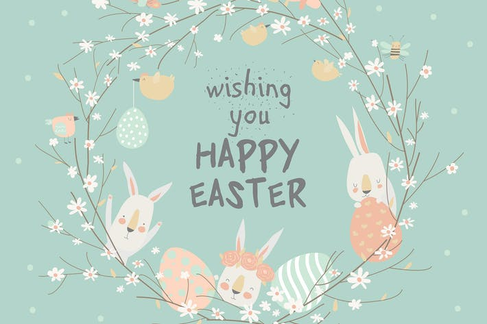 Thumbnail for Cartoon Easter wreath with cute rabbits and Ester