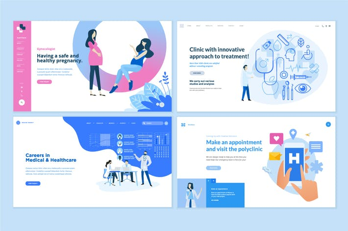 Cover Image For Medicine and healthcare web page design templates