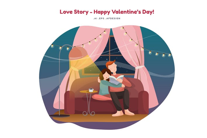 Thumbnail for Love Story Vector Illustration