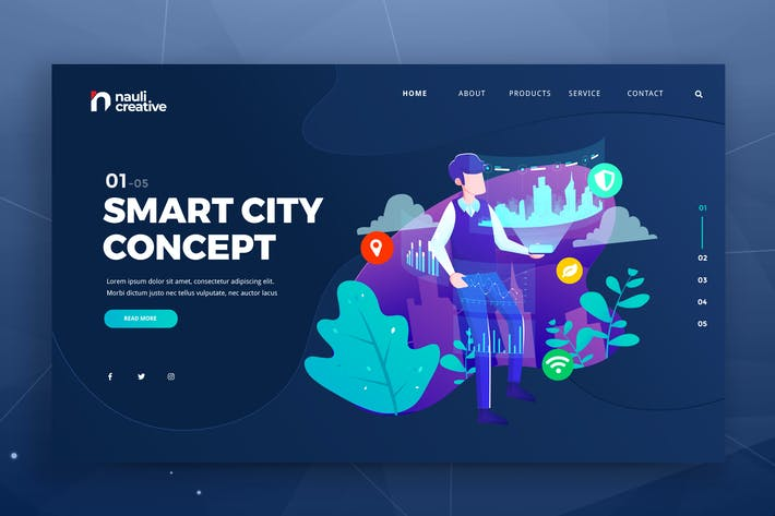Thumbnail for Smart City Concept Web PSD and AI Vector Template