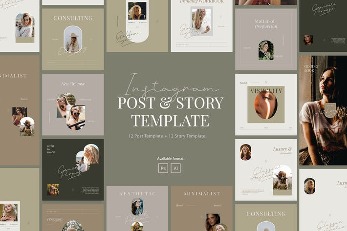 Thumbnail for Beauty Minimalist Instagram Post Story Template
