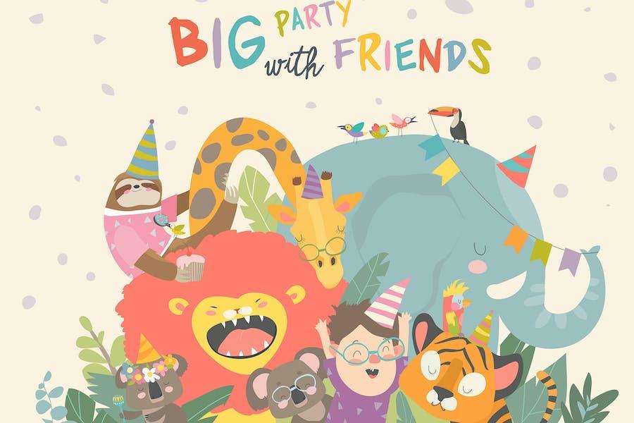 Vector birthday background with happy animals. Hap