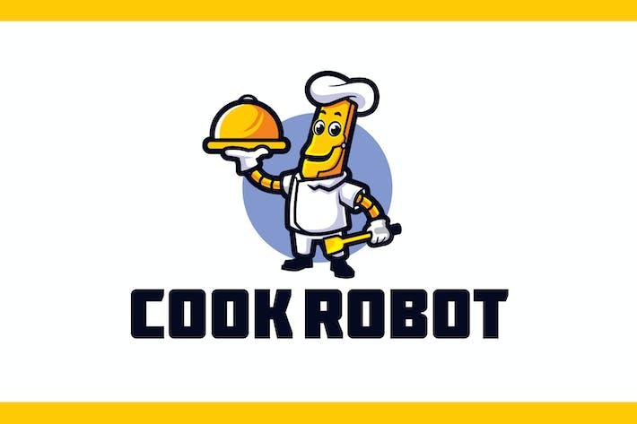 Thumbnail for Cartoon Robot Chef Mascot Logo