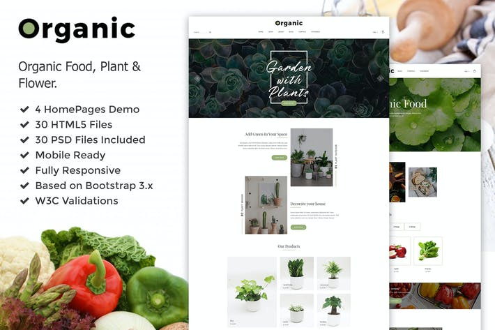 Thumbnail for Organic - Plant, Flower & Food HTML5 Template