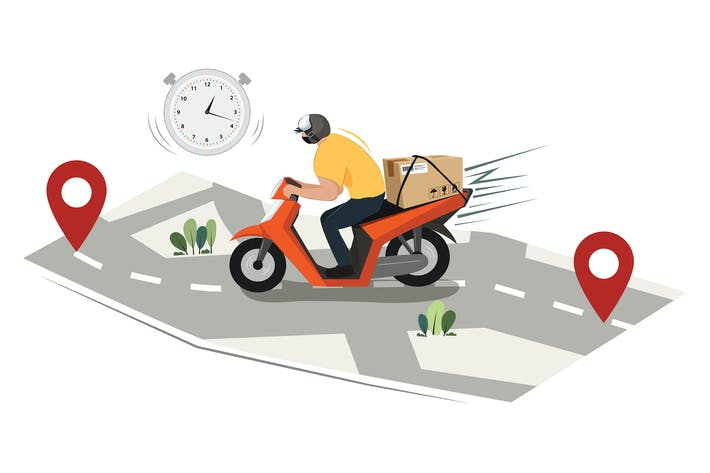 Thumbnail for Man courier driving on scooter illustration