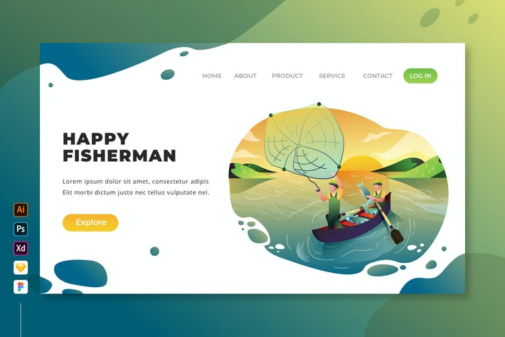 Thumbnail for Happy Fisherman - Vector Landing Page