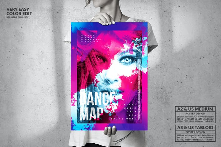 Thumbnail for Dance Map Party Music - Big Poster Design