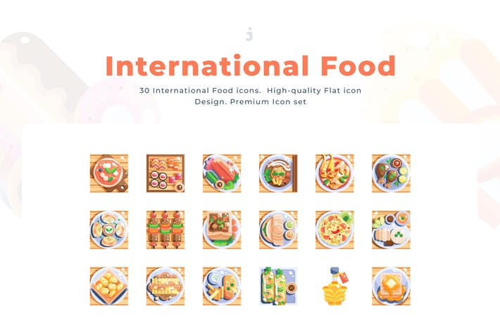 Cover Image For 30 International Food Icon set - Flat