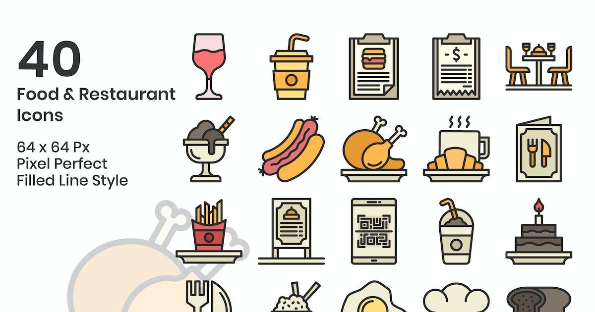Download 40 Food & Restaurant Icons Set - Filled Line by kmgdesignid