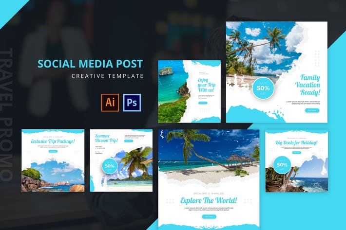 Thumbnail for Travel Social Media Post Template