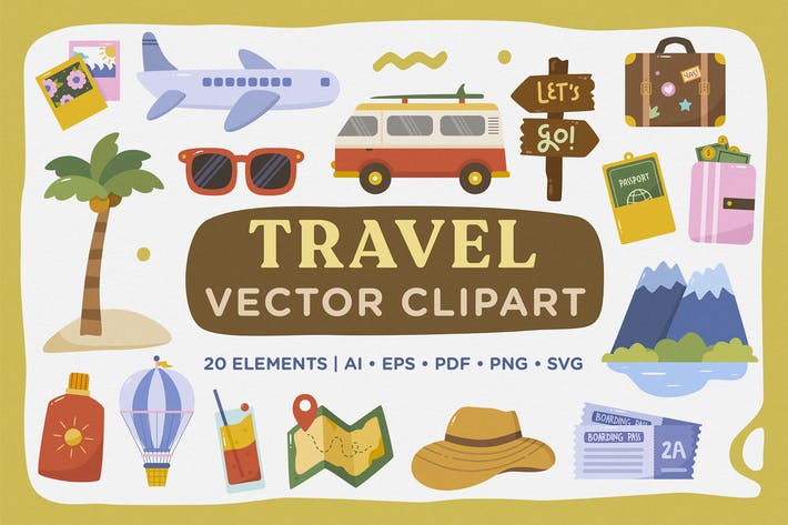 Thumbnail for Travel Holiday Vacation Vector Clipart Pack
