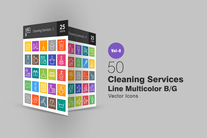 Cover Image For 50 Cleaning Services Line Multicolor B/G Icons