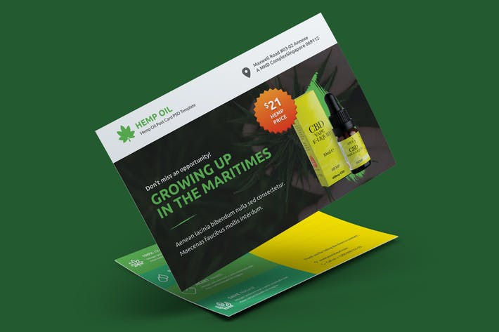 Thumbnail for Hemp Products Postcard PSD Template