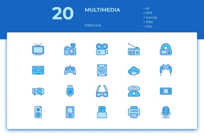 Thumbnail for 20 Multimedia Icons (Filled Line)