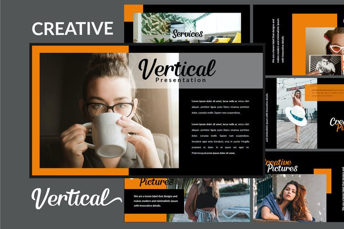 Thumbnail for Vertical Dark - Creative Powerpoint Template