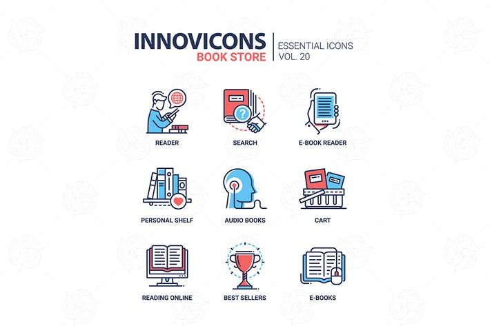 Thumbnail for Book store - modern color vector single line icon