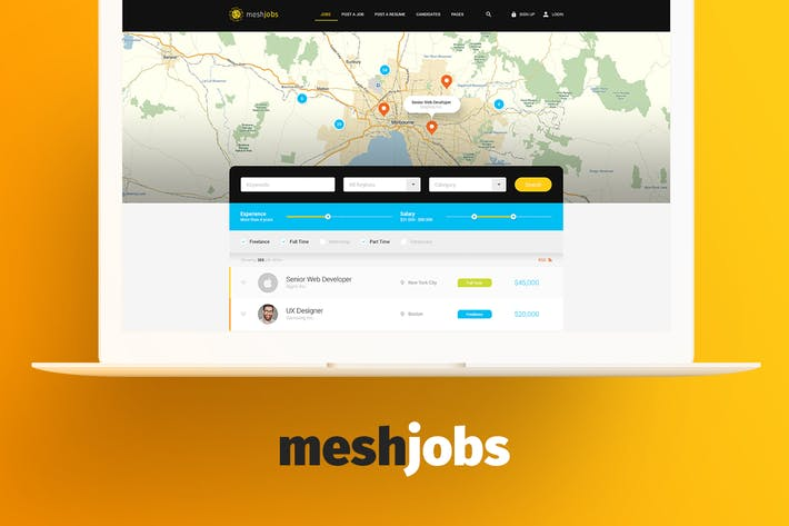 Meshjobs - Job Board PSD Template