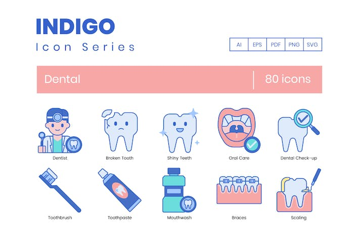 Thumbnail for 80 Dental Line Icons
