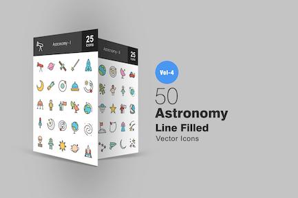 50 Icons der Astronomie Linie gefüllt