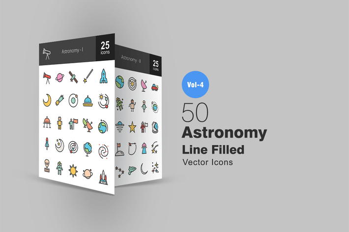 Thumbnail for 50 Astronomy Line Filled Icons
