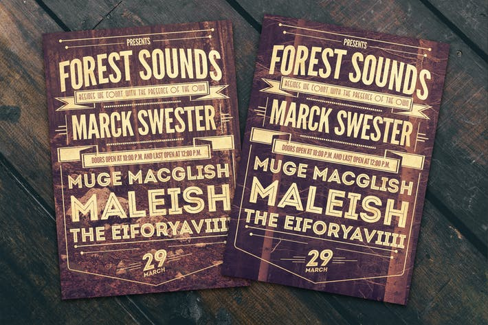 Forest Sounds Typography Flyer Poster