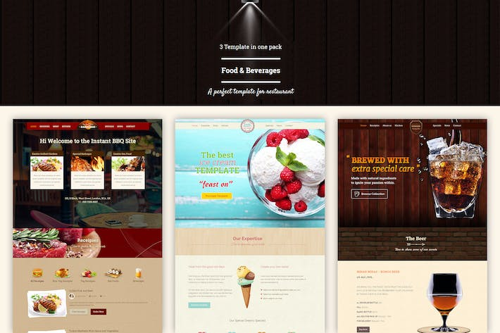 Thumbnail for Food & Beverages One Page HTML5 Template