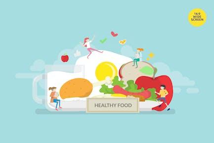 Concepto de ilustración Vector de dieta saludable