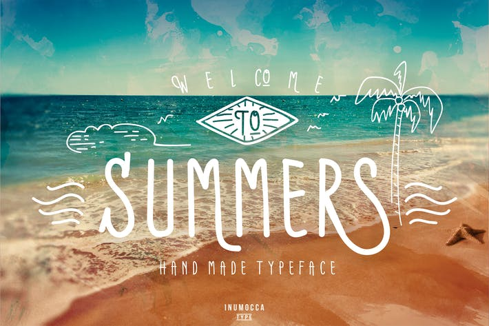 Thumbnail for Summers Typeface + BONUS vector