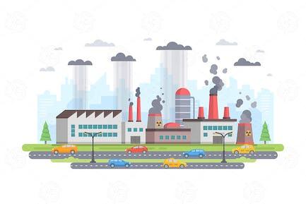 Air pollution - flat design style illustration