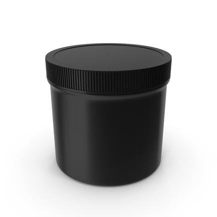 Black Plastic Jar Wide Mouth Straight Sided 12oz Closed