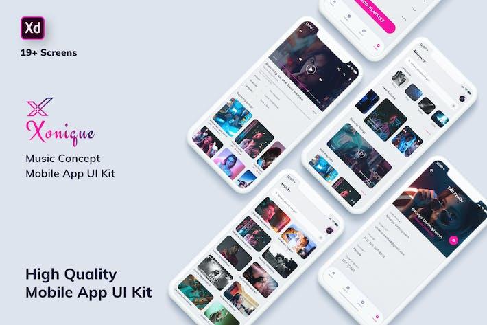 Thumbnail for Xonique-Music MobileApp UI Kit Light Version (XD)