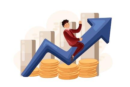 Hombre de negocios montado en la flecha de ganancia