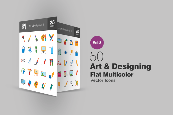 Thumbnail for 50 Art & Designing Flat Multicolor Icons