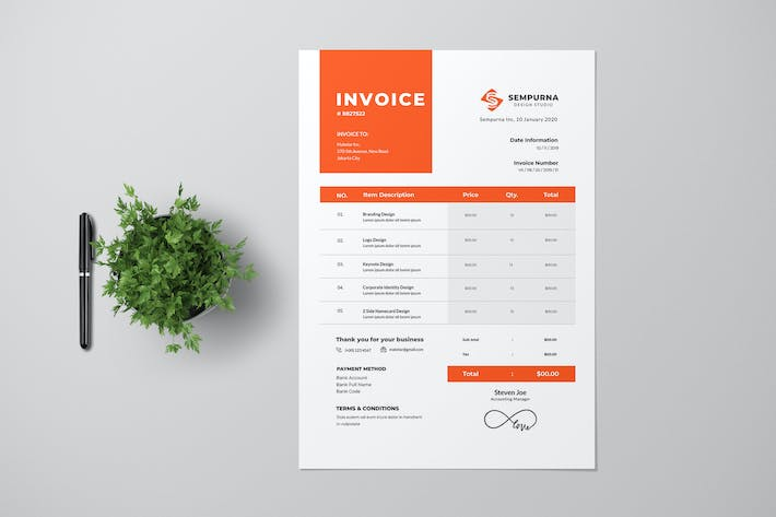 Thumbnail for Clean Red Invoice Design