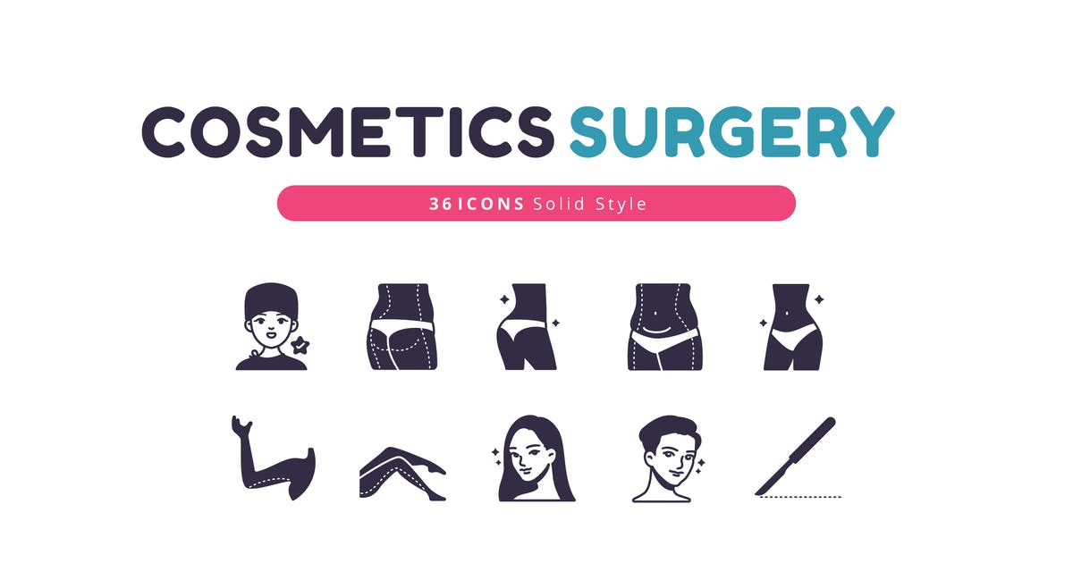 Download 36 Icons Cosmetics Surgery Solid Style by Victoruler
