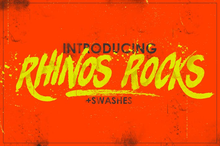 Thumbnail for Rhinos Rocks Brush Font
