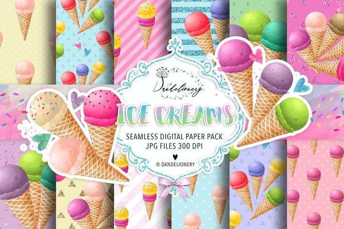 Thumbnail for Watercolor Ice Creams digital paper pack