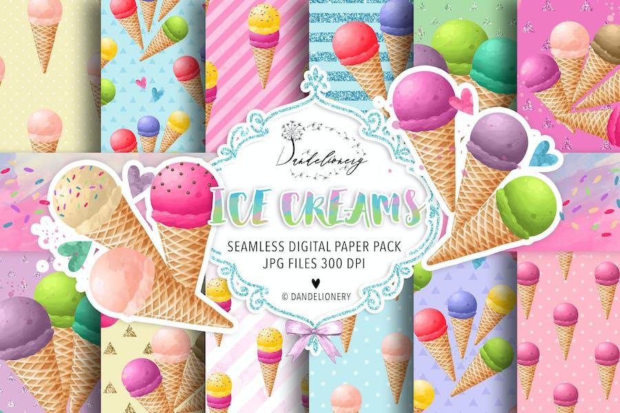 Watercolor Ice Creams digital paper pack