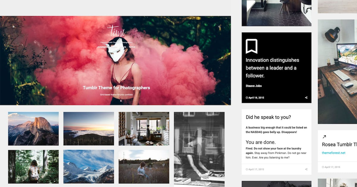 Download Time | Photography Grid Tumblr Theme by roseathemes