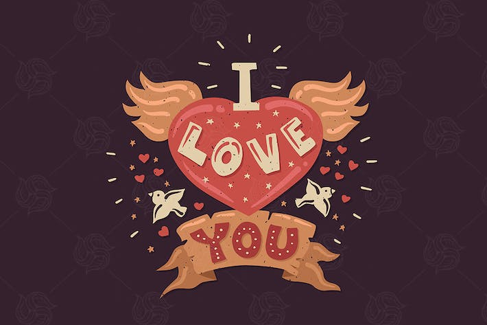 Thumbnail for I Love You - Vintage Lettering Poster