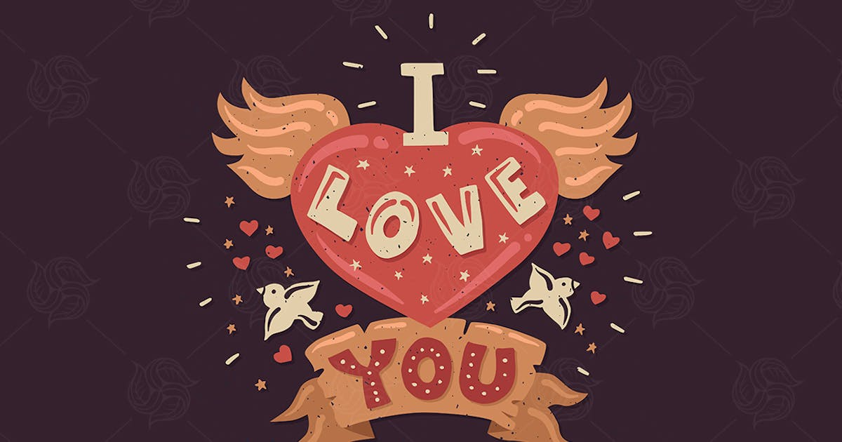 Download I Love You - Vintage Lettering Poster by BoykoPictures