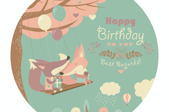 Thumbnail for Happy birthday card with cute foxes